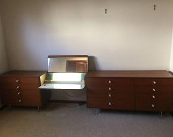 Walnut Tall Dresser George Nelson Herman Miller Mid Century - Herman miller bedroom furniture