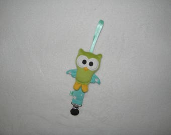 Hanging pacifier clip pacifier, owl, owl, green and blue aqua, birth gift