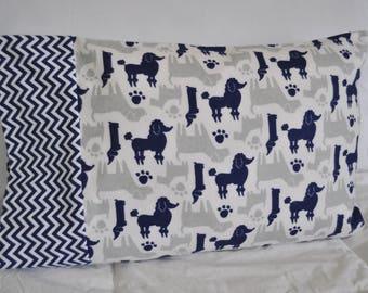 Handmade Travel / Toddler Sz Flannel Pillowcase Dogs Poodles Labs Daschunds Scotties