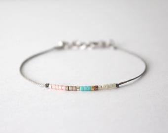 Minimal bead bracelet, bead bracelet, mixed color bead bracelet, friendship bracelet, gift