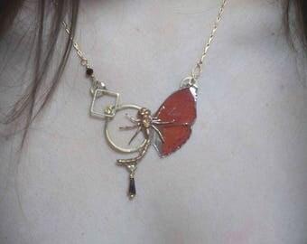 Collier Lulaby véritable ailes de papillon Cymothoe Regina et engrenages