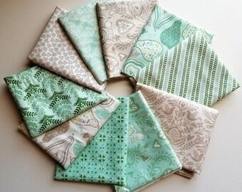 North Woods Aqua & Gray Fat Quarter bundle - Kate Spain - Moda (10 prints, 2.5 yards total)