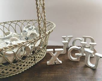 Wooden letters lot White shabby wood letters set Distressed white letter Decorative white letter Small white letter