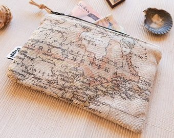 Travel Wallet - Zipper Coin Purse - Womens & Mens World Map Pouch, Wanderlust, Small Credit Card Case, Business Card Holder, Keychain Pouch