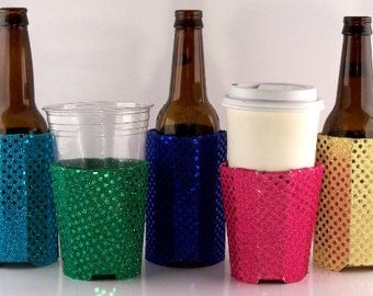 Beverage Insulators(6) Sequin Fabric PocketHuggie-Color Mix, Eco-Friendly, Folds Flat #Beer ,Starbucks,Solo Cup 3 Sizes-CAN,CUP, Glass Beer