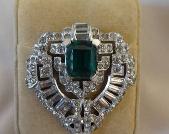 Gorgeous Jeweled Faux Emerald DRESS CLIP