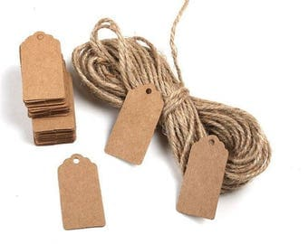 Lot 10 labels 4 x 2 cm kraft cardstock tags