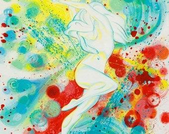 Splashy Colorful Dancer Giclee Print