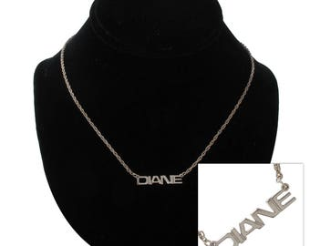 Diane Silver Tone Name Pendant Necklace Jewelry Vintage 1970s