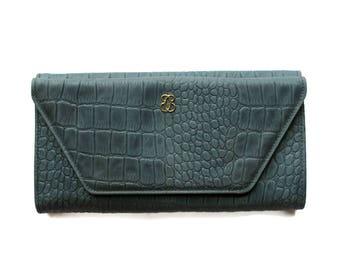 Vintage Buxton Blue Leather Wallet Top Grain Cowhide Checkbook Holder