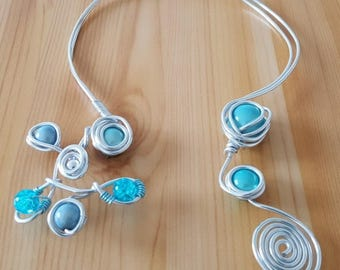 Turquoise beads and silver aluminum necklace
