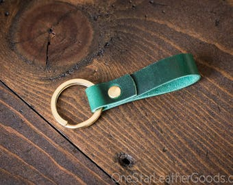 Key fob & keyring, keychain, Horween Chromexcel - bright green/brass