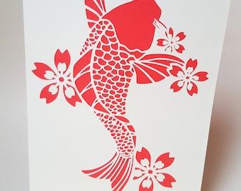 """Card """"Japanese fish"""" red envelope"""