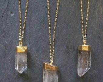 SALE / Quartz Necklace / Gold Quartz Necklace / Raw Quartz Necklace / Rough Quartz Necklace / Gold Quartz Jewelry / Gold Crystal Necklace