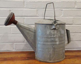 Large Vintage Galvanized Metal Watering Can / Red Spout / Rustic Farmhouse Chic