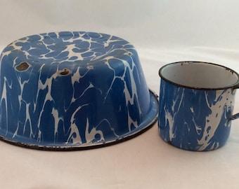 Vintage Enamelware Bowl and Cup, Swirled Blue Enamelware