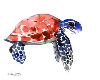 Sea Turtle Original Watercolor Artwork/ Underwater Scene Animal Illustration/ One of a Kind Beach Tortoise Guest Room Art