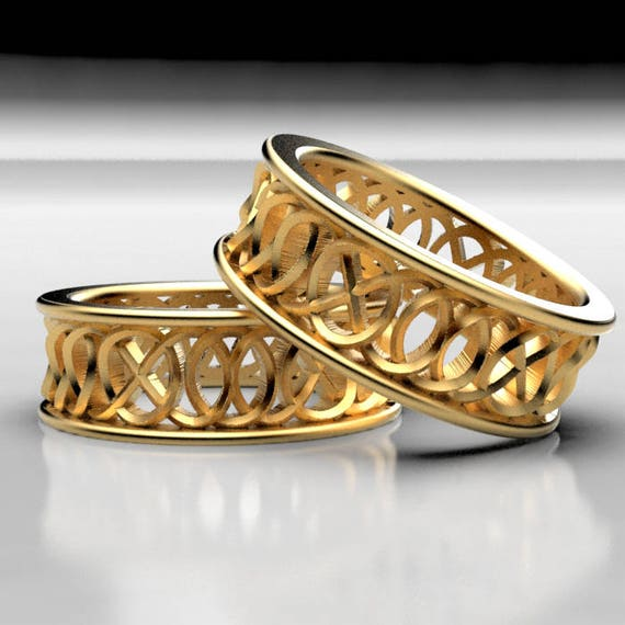 "Celtic Wedding Ring Set With Infinity Knotwork ""Hugs and Kisses"" Design 10K 14K 18K Gold, Palladium or Platinum, Made in Your Size 299"