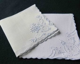 Set of 2 Handkerchief-Pale blue Embroideries Handmade-Vintage from France-Wedding Gift-Bridesmaid_ Heirloom-