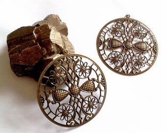 10 beautiful round filigree (very thin metal) 63mm prints bronze color