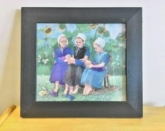 Amish Girls Watercolor Painting, Signed B. Heppe Runge, Numbered 64/2500
