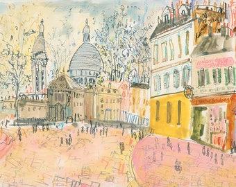 PARIS ART PRINT, Montmartre Paris, Hotel Lautrec, Signed Limited Edition Giclee, Paris Watercolor Painting, French Wall Art, Paris Buildings