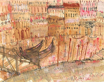 VENICE GONDOLA PRINT, Italy Wall Art, Venice Watercolor Painting, Drawing Sketch Venice Facade, Venice Painting Grand Canal, Clare Caulfield