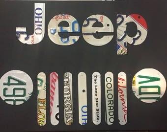 Jeep License Plate Wall Folk Art Matt Black