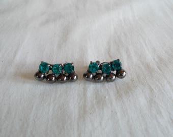 Vintage Green Or Blue Color Glass Rhinestone Clip Pierced Earrings //7