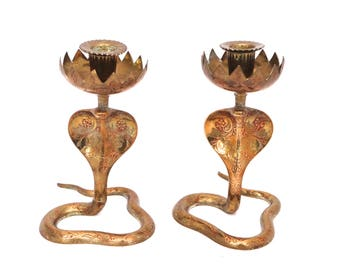 Large Pair of Indian Brass Cobra Candle Holders, Enameled Snake Candle Stick, Indian Brass Cobra Candle Holder, Brass Candlestick Holder