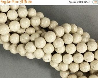 25% OFF 10mm Fossil Stone White Ivory Cream Round Full Strand Gemstone Beads,40 beads 16 inch strand - FB100