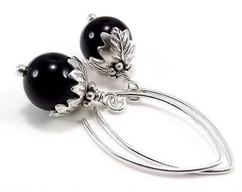 END Of SUMMER SALE Sterling Silver Earrings Black Onyx Beads