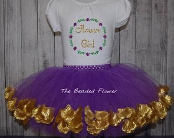 Flower girl shirt tutu set outfit purple gold petal tutu