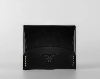 CardShell™ Cash Cardcase Leather Wallet - Black Hand-Dyed Natural Herman Oak Leather
