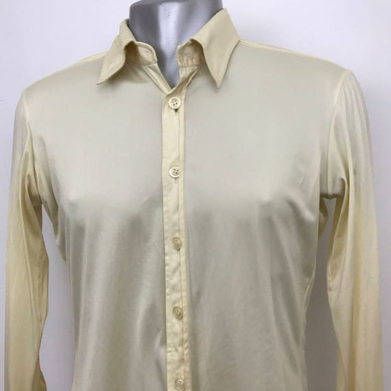 """Vintage shirt 1970s polyester silky jersey mens shirt long sleeves disco party cream slinky dagger collar 14"""" shiny 70s jazzy pimp sexy"""