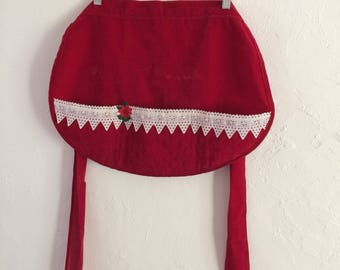Vintage Christmas Apron Red Half Apron Red Velvet, Christmas Kitchen