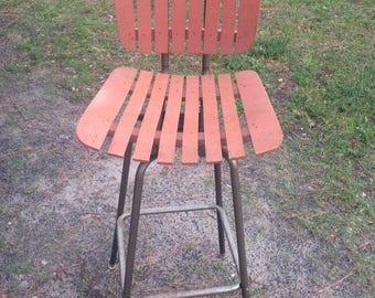 """Vintage Pennant Brand Wood & Metal Slatted Bar Stool, 42"""""""
