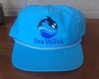 1980's VTG Sea World Blue Hat, Adjustable