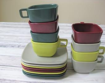 Melamine Cups and Saucers, Brookpark Modern Design, Joan Luntz, set of 8