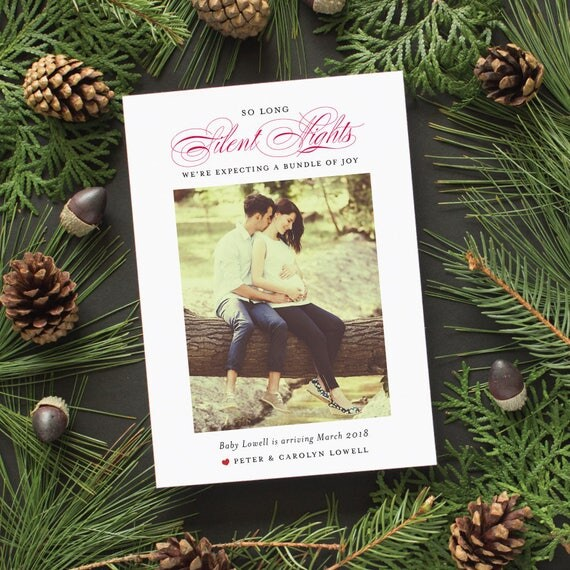 Pregnancy Announcement Christmas Card, Maternity Photos, Pregnancy Announcement Holiday Photo Card - Silent Nights