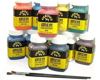 Acrylic Dye - 11 Colors Fiebing's Dye for Leather Acrylic Paint Finish
