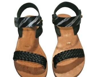 15% OFF Black-Natural Leather Sandals for Women & Men - Design 35R - Handmade by WalkaholicS
