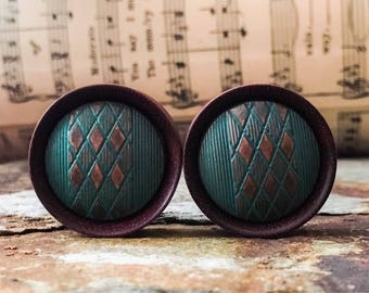 Wood Plugs, gauges, with Teal and Copper Argyle Inlays   1 1/8, 28mm