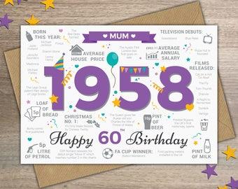 Happy 60th Birthday MUM Greetings Card - Born In 1958 British Facts Year of Birth / Memories Purple