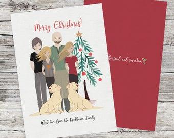 Custom portrait Christmas Portrait. Printable holiday Portrait. Family portrait. Family drawing.