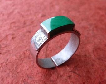 Ring man, woman natural stone ring, gemstone malachite green man worked silver malachite ring man ring