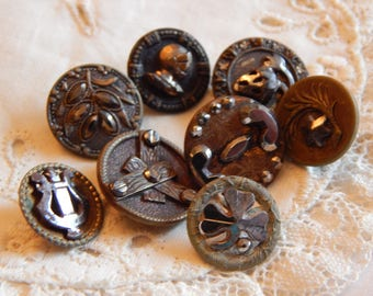 Different Shaped Steels on Brass Buttons - 8