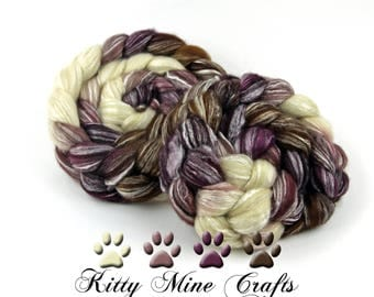 60/40 BFL Wool and Bamboo Roving - Savage Granny - 4oz/ 113g - Felting - Wool Top - Spinning Supplies - Mauve, Purple, Ecru, Brown