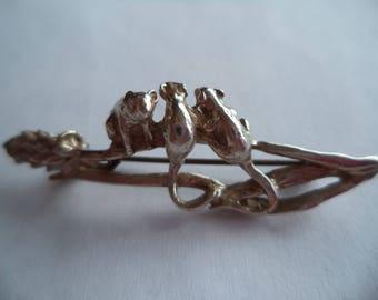 Vintage Signed MASJ Silvertone Tiny Mice on Wheatsheaf Brooch/Pin Dated 1995