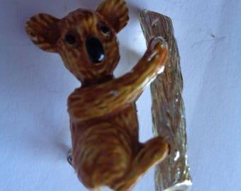 Vintage Signed Gerrys Goldtone/Enamel Koala on Tree  Brooch/Pin